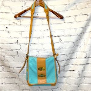 Noa Blue Green Tan Leather Crossbody Messenger Bag